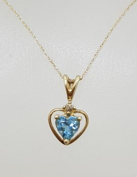 9ct Yellow Gold Dainty Blue Topaz Heart with Diamond Pendant on Gold Chain