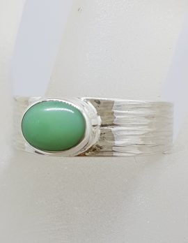 Sterling Silver Oval Bezel Set Chrysoprase / Australian Jade on Wide Band Ring