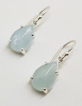 Sterling Silver Teardrop / Pear Shape Claw Set Cabochon Cut Aquamarine Drop Earrings