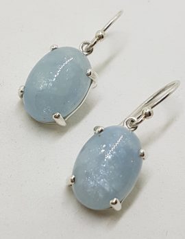 Sterling Silver Oval Claw Set Cabochon Cut Aquamarine Drop Earrings
