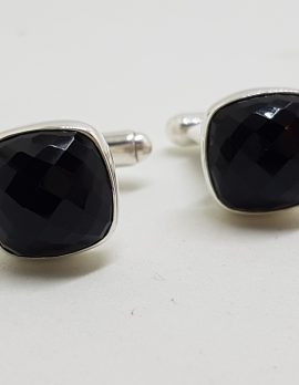 Sterling Silver Square Faceted Onyx Pair of Cufflinks