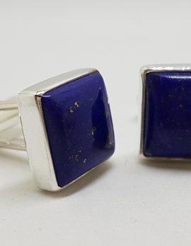 Sterling Silver Square Lapis Lazuli Pair of Cufflinks