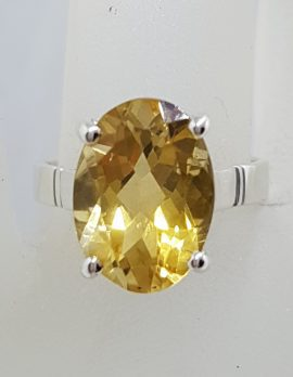 Sterling Silver Large Oval Claw Set Citrine Ring
