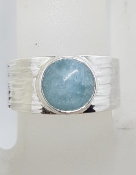 Sterling Silver Round Bezel Set on Wide Patterned Design Band Cabochon Cut Aquamarine Ring