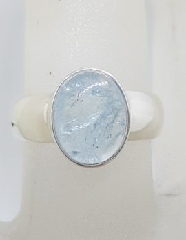 Sterling Silver Oval Bezel Set Cabochon Cut Aquamarine Ring