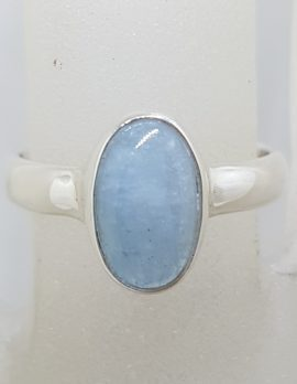 Sterling Silver Oval Bezel Set Aquamarine Ring