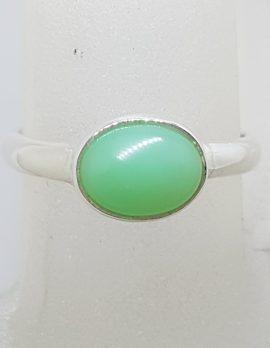 Sterling Silver Oval Bezel Set Chrysoprase / Australian Jade Ring