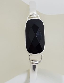 Sterling Silver Oblong Faceted Onyx Bangle