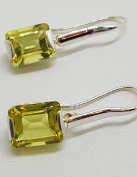 Sterling Silver Rectangular Lemon Citrine Long Drop Earrings
