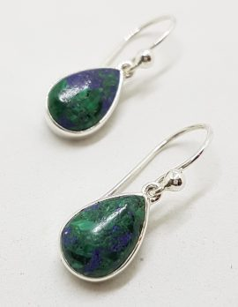 Sterling Silver Teardrop / Pear Shape Azurite Bezel Set Drop Earrings