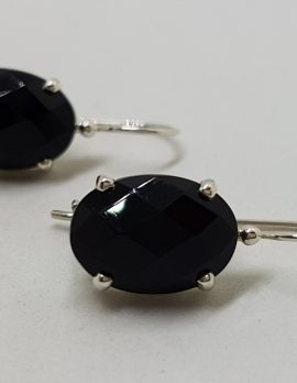 Sterling Silver Oval Faceted Onyx Claw Set Drop Earrings