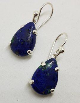 Sterling Silver Teardrop / Pear Shape Lapis Lazuli Claw Set Drop Earrings