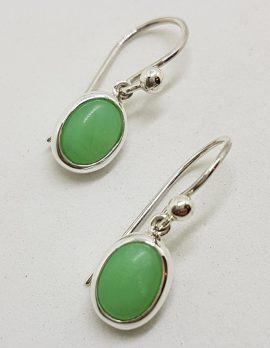 Sterling Silver Oval Chrysoprase / Australian Jade Drop Earrings