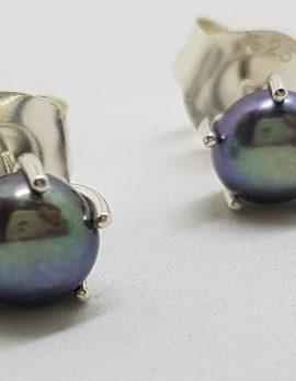 Sterling Silver Black Pearl Claw Set Stud Earrings