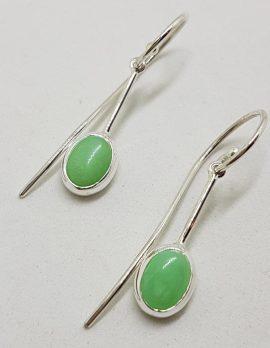 Sterling Silver Oval on Line Chrysoprase / Australian Jade Long Hook Drop Earrings