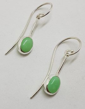 Sterling Silver Oval on Line Chrysoprase / Australian Jade Long Hook Drop Earrings