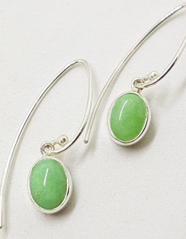 Sterling Silver Oval Chrysoprase / Australian Jade Long Drop Earrings