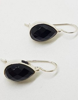 Sterling Silver Teardrop / Pear Shape Faceted Onyx Bezel Set Drop Earrings