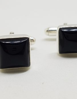 Sterling Silver Square Onyx Pair of Cufflinks