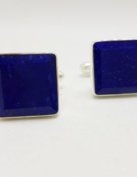 Sterling Silver Square Large Beveled Edge Lapis Lazuli Pair of Cufflinks