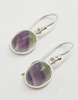 Sterling Silver Oval Flourite Drop Earrings