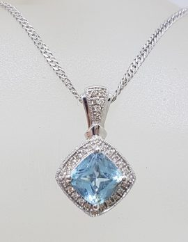 9ct White Gold Square Topaz Surrounded by Diamond Cluster Pendant on Gold Chain