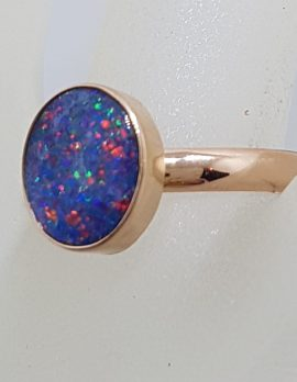 9ct Rose Gold Oval Blue with Multi-Colour Opal Ring - Cooper Pedy