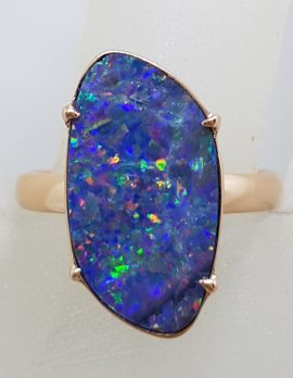 9ct Rose Gold Large Unusual Shape Blue with Multi-Colour Opal Ring - Cooper Pedy