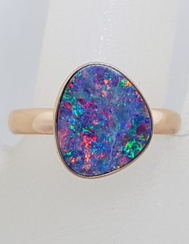 9ct Rose Gold Unusual Shape Blue with Multi-Colour Opal Ring - Cooper Pedy