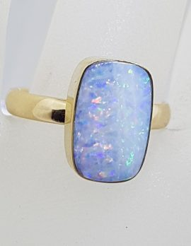 9ct Yellow Gold Rectangular Opal Ring - Cooper Pedy