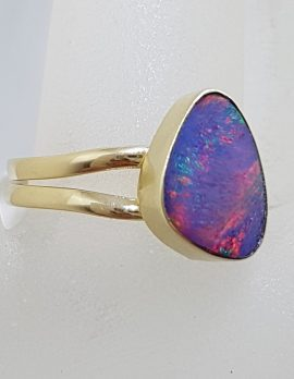 9ct Yellow Gold Triangular Blue Opal Ring - Cooper Pedy
