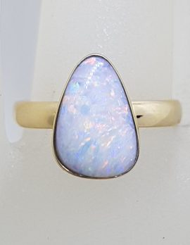 9ct Yellow Gold Triangular Opal Ring - Cooper Pedy