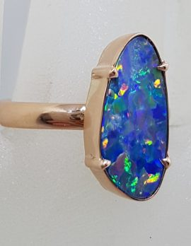 9ct Rose Gold Large Unusual Shape Opal Ring - Coober Pedy