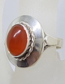 Sterling Silver Vintage Oval Carnelian Ring
