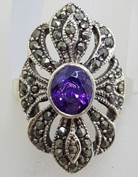 Sterling Silver Vintage Marcasite with Purple Stone Large Ring