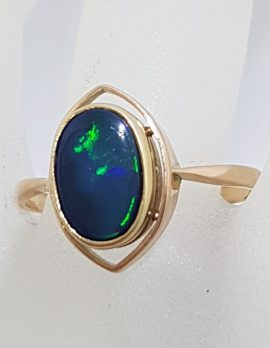 9ct Rose Gold Oval Opal Ring - Antique / Vintage