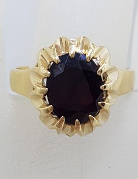 9ct Yellow Gold Basket / Claw Set Large Oval Garnet Ring - Antique / Vintage