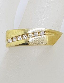 9ct Yellow Gold 7 Diamond Channel Set Rectangular Gents / Ladies Ring - Wedding / Dress Ring