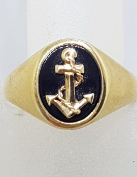 9ct Yellow Gold Oval Onyx with Gold Anchor Gents Ring