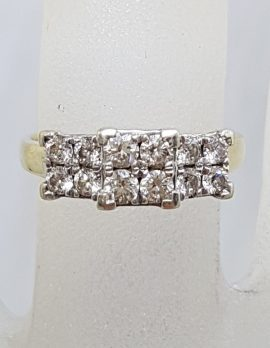 9ct Yellow Gold Claw Set 12 Square Diamond Cluster Engagement / Dress Ring