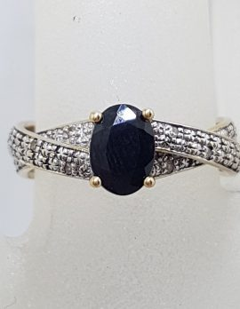 9ct Yellow Gold Oval Sapphire with Diamonds Twist Band Ring