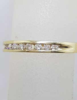 9ct Yellow Gold 8 Diamond Channel Set Wedding / Eternity / Stackable Ring