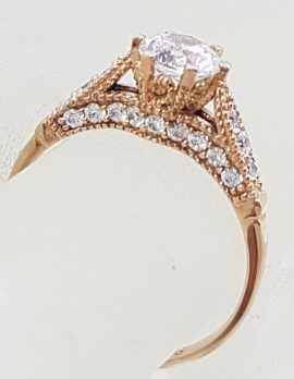 9ct Rose Gold Cubic Zirconia Ornate Ring