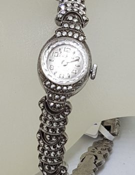 Sterling Silver Vintage Marcasite Wind-Up Watch