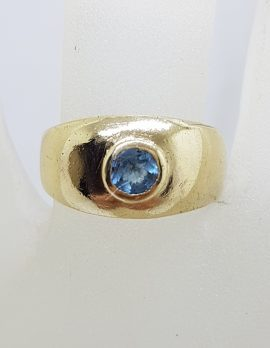 9ct Yellow Gold Round Topaz in Wide Band Ring - Antique / Vintage