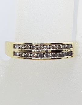 9ct Yellow Gold 2 Rows of Channel Set Diamond Ring