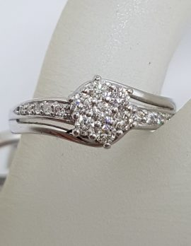 9ct White Gold Diamond Cluster Engagement Ring and Wedding Ring Set