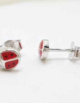 Sterling Silver Red Enamel Ladybird / Ladybug Stud Earrings