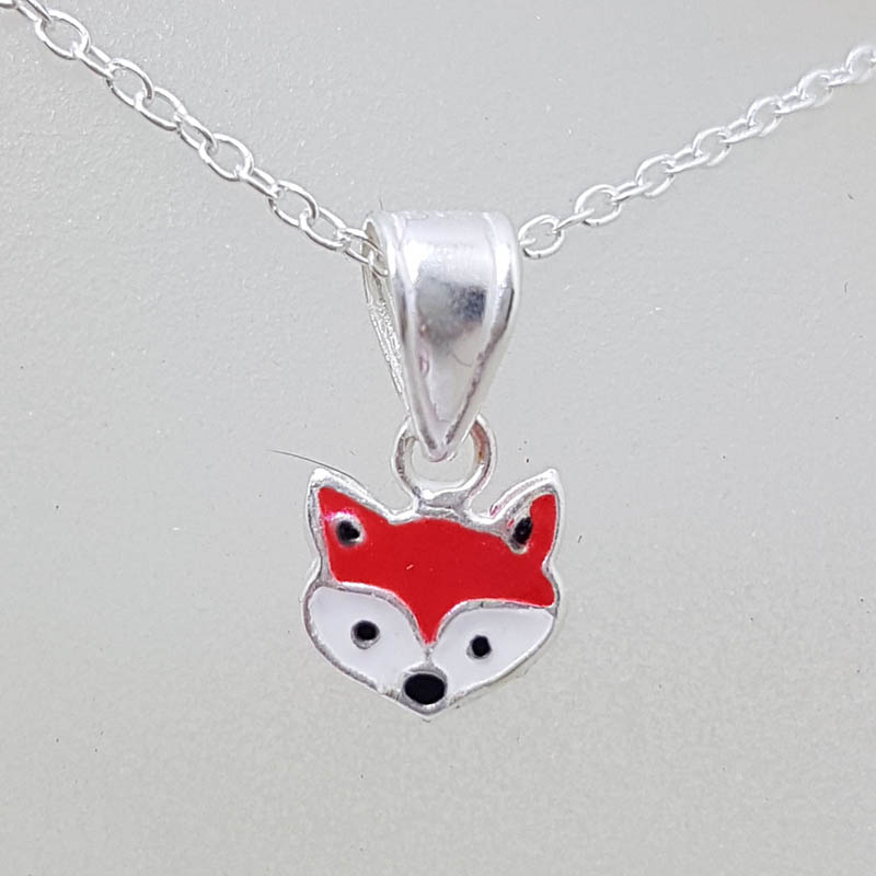 Sterling Silver Red & White Enamel Small Fox Pendant on Silver Chain