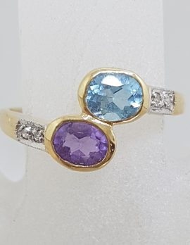 9ct Yellow Gold Diamond with Oval Amethyst & Topaz Bezel Set Ring - Large Size